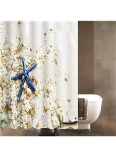 Seaside Scenery Blue Starfish and Seashells Shower Curtain