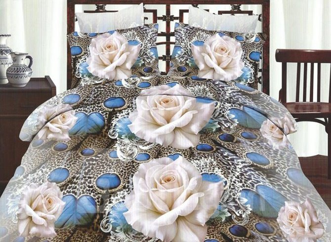 Elegant White Flowers Print Polyester 4 Pieces Duvet Cover Sets