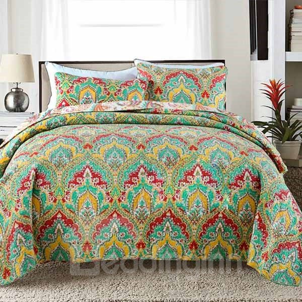European Style Classy Jacquard Green 3-Piece Cotton Bed in a Bag