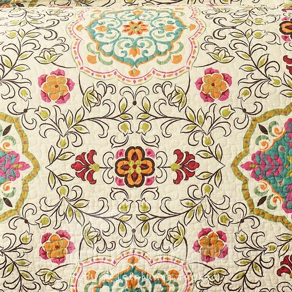 Top Grade Floral Vine Print Cotton 3-Piece Bed in a Bag