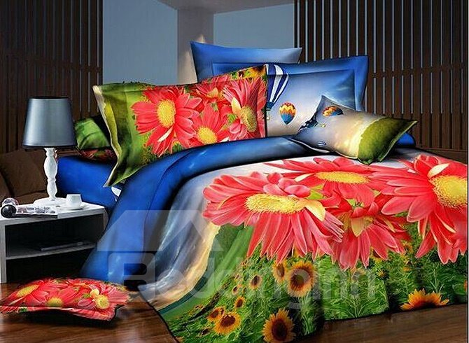 Red Daisy and Sunflowers Print 4-Piece Polyester Duvet Cover Sets