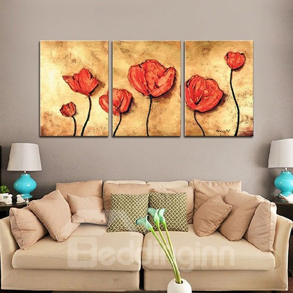 Wonderful Oil Painting Red Flowers 3-Panel Framed Wall Prints