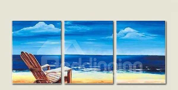 Stunning Hand-Painting Mediterranean Seaside 3-Panel Framed Wall Art Prints