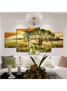 Amazing Tree in Sunset Oil Painting Framed 5-Panel Wall Art Prints
