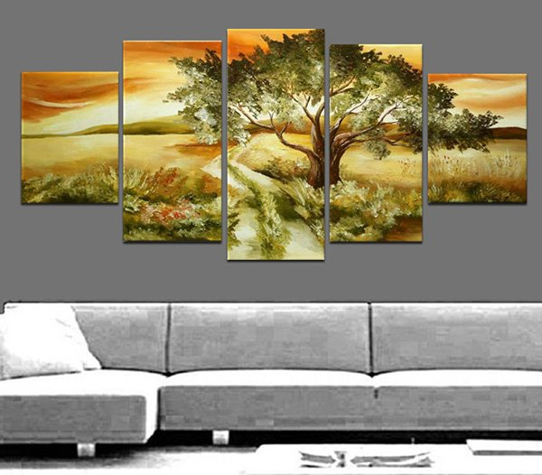 Amazing Tree in Sunset Oil Painting Frameless 5-Panel Wall Art Prints