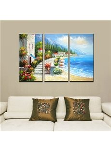 Picturesque Hand-Paint Mediterranean Beach 3-Panel Framed Wall Art Prints