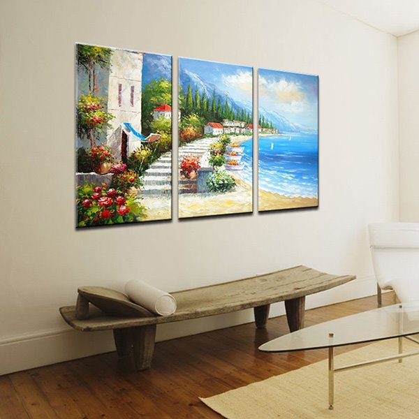 Picturesque Hand-Paint Mediterranean Beach 3-Panel Frameless Wall Art Prints