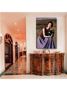 Beautiful Woman in Purple 1-Panel Wall Art Print