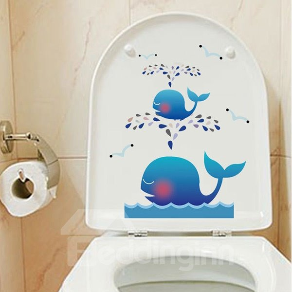 Creative Cartoon Whale Pattern Bathroom Toilet Sticker