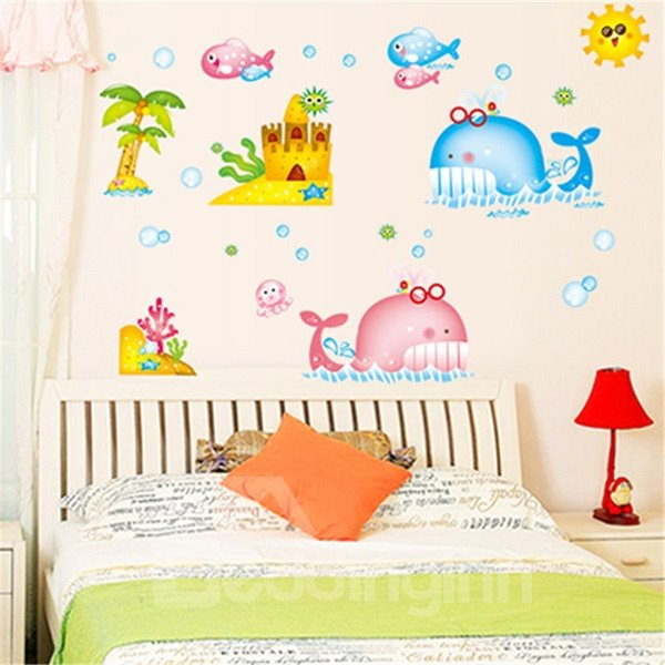 Colorful Cartoon Whale and Fishes Removable Wall Sticker