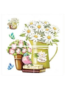 Wonderful Flower Pattern Kitchen Bathroom Tile Removable Wall Sticker