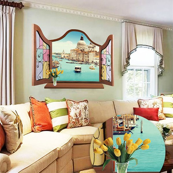 Amazing Window View Blue Sea and Castle Removable 3D Wall Sticker