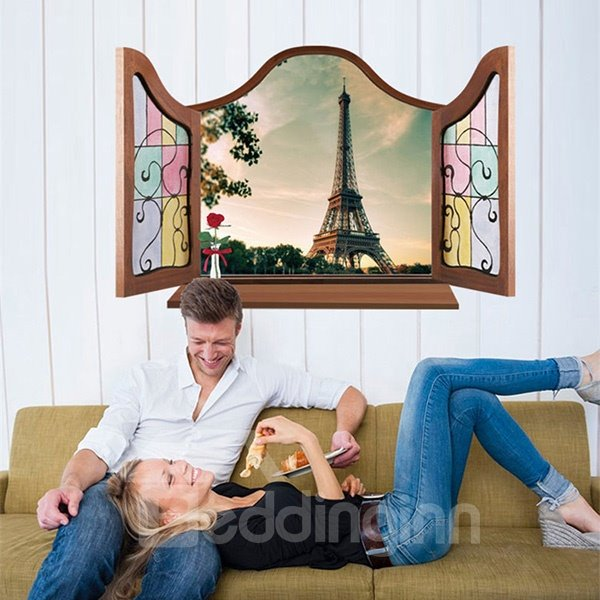 Amazing Window View Eiffel Tower Removable 3D Wall Sticker