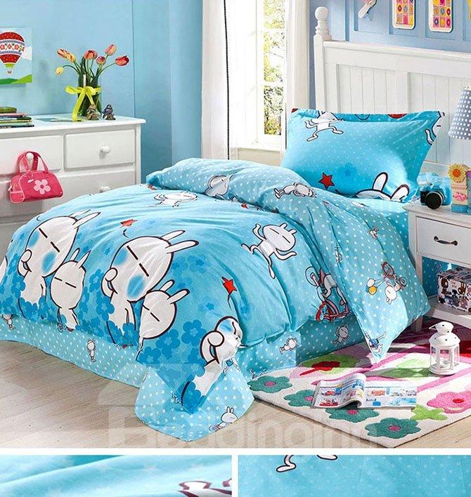 Cute White Rabbit Pattern Cotton Kids 3-Piece Duvet Cover Sets