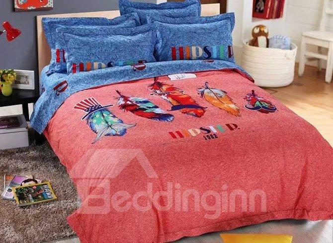 Colorful Feathers Print 4-Piece Cotton Duvet Cover Sets