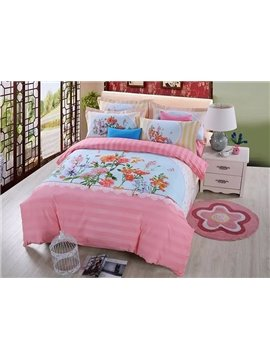Likable Colorful Flowers and Butterfly Print Cotton 4-Piece Duvet Cover Sets