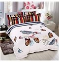 Elegant Colorful Flying Butterflies Print White 4-Piece Cotton Duvet Cover Sets