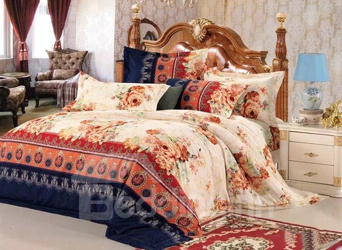 Beige Peonies Print European Style Cotton 4-Piece Duvet Cover Sets
