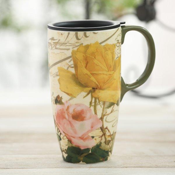 Stunning Pink and Yellow Roses Pattern Ceramic Sealed Lid Tall Coffee Mug Travel Mug