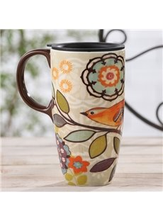 Wonderful Bird and Flower Pattern Ceramic Tall Coffee Mug