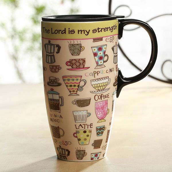 Wonderful Coffee Cup Pattern Ceramic Sealed Lid Tall Coffee Mug Travel Mug