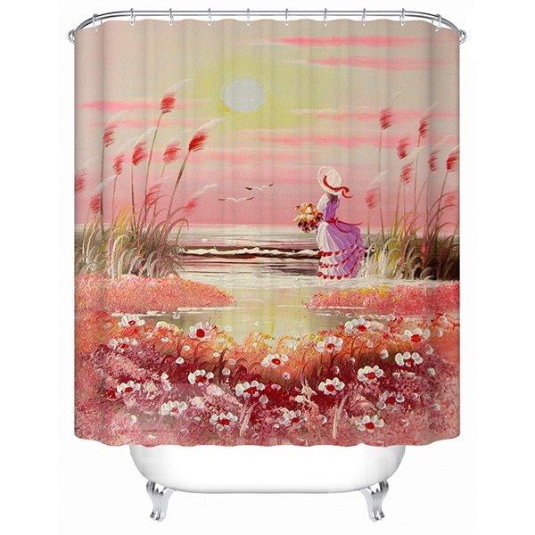 Dreamlike Charming Sunset View Beautiful Girl 3D Shower Curtain