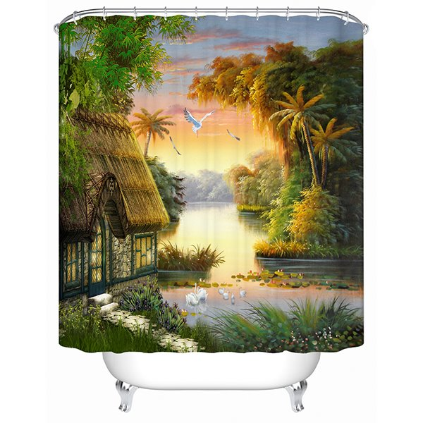 3D Beach Houses and Coconut Tree Printed Polyester Shower Curtain