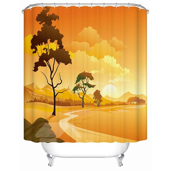 Creative Warm Desert Scenery 3D Shower Curtain