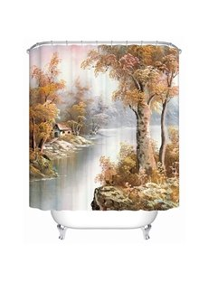 Graceful Concise Countryside View 3D Shower Curtain