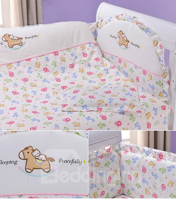 Adorable Colorful Lion Pattern 10-Piece Crib Bedding Sets