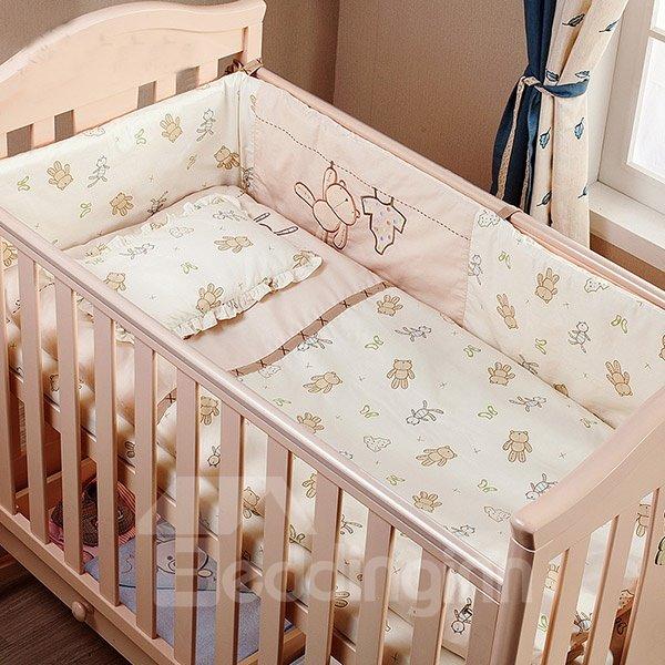100% Cotton Adorable Bear Pattern 7-Piece Crib Bedding Sets