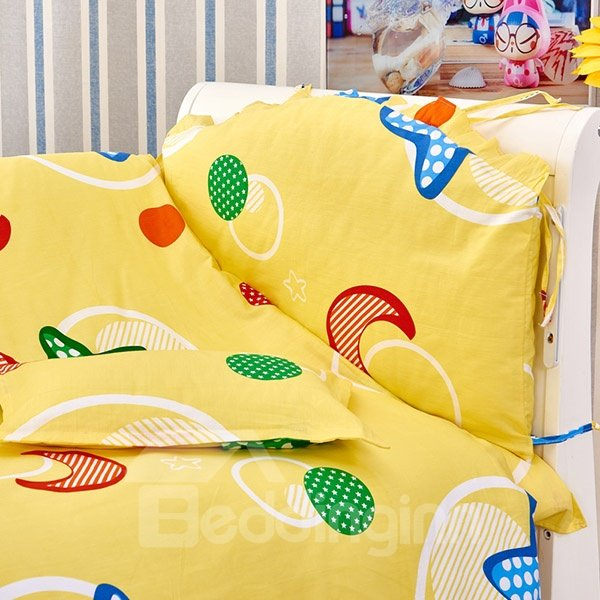 Lively Yellow Moon and Star Pattern 10-Piece Crib Bedding Sets