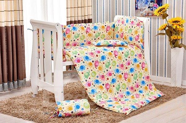 Chubby Cute Elephant Pattern 10-Piece Crib Bedding Sets