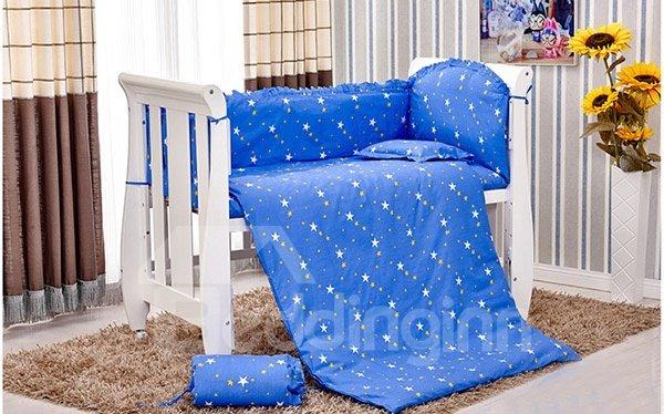 Dreamy Blue Stars Pattern 10-Piece Crib Bedding Sets
