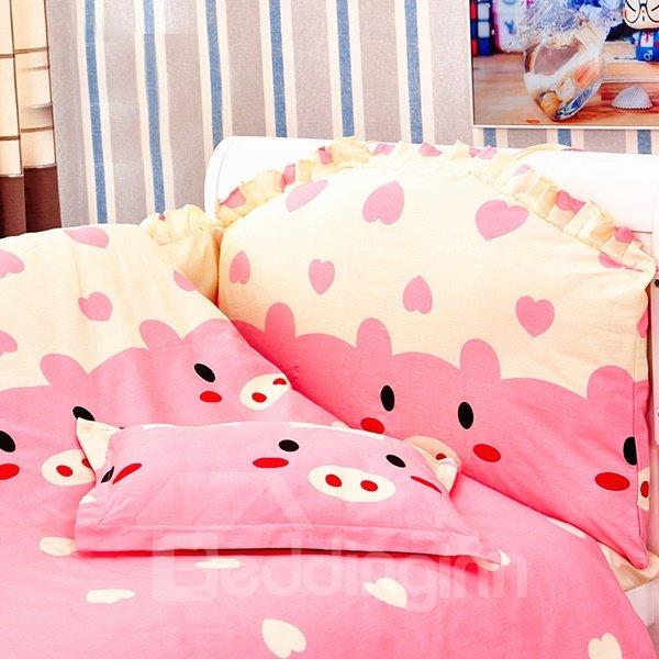 Adorable Pink Piggy Pattern 10-Piece Crib Bedding Sets