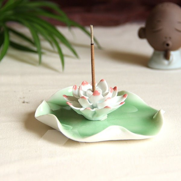 Gorgeous Water Lily Design Ceramic Incense Holder