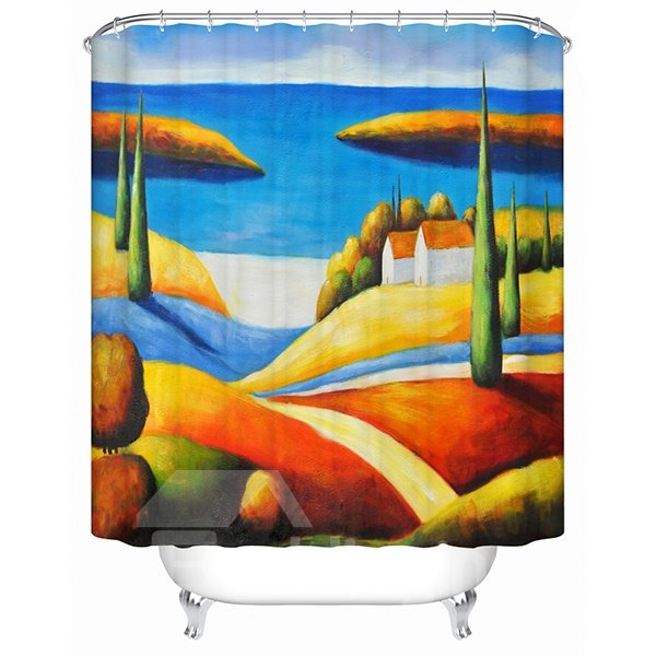 Artistic Design Sandy Beach View 3D Shower Curtain