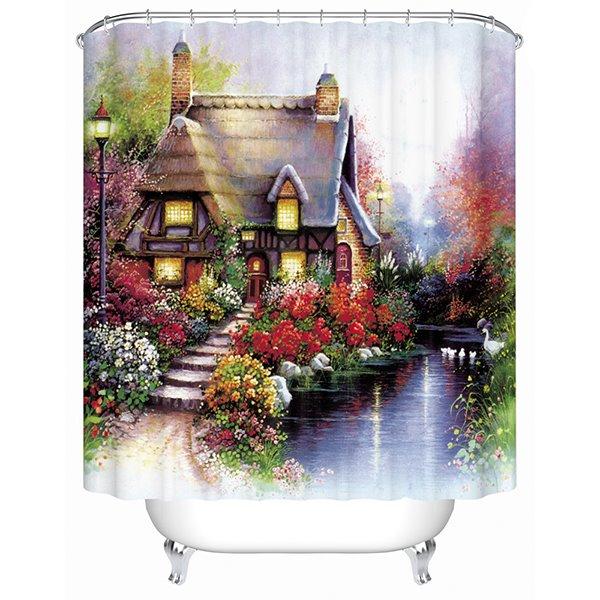 Super Beautiful Rural Scenery Villa Print 3D Shower Curtain
