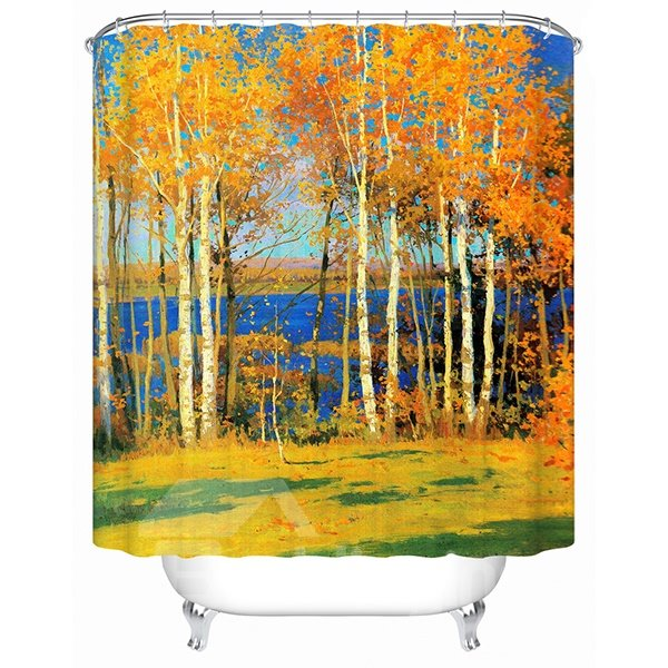 Peaceful Charming Autumn Birch Tree 3D Shower Curtain