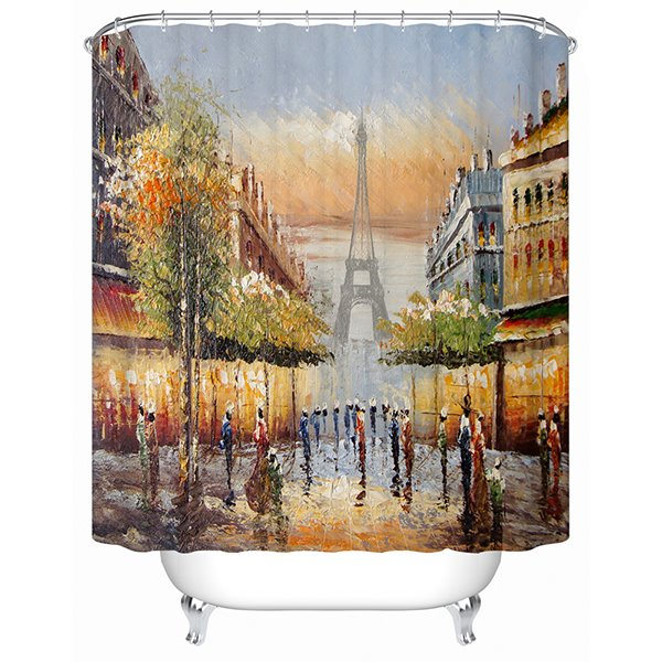 European Style Eiffel Tower and Court Ladies Print 3D Shower Curtain