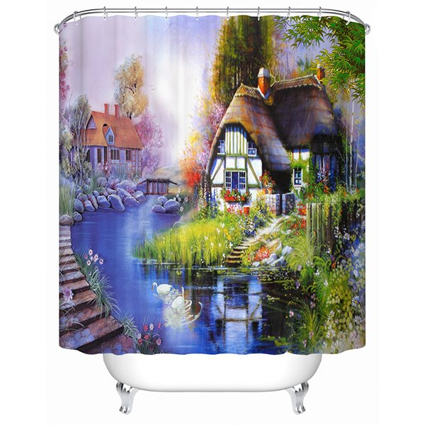 Charming Wonderful Pastoral Rural Life View 3D Shower Curtain