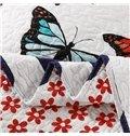 Vivid Flying Colorful Butterflies Print 100% Cotton Quilt