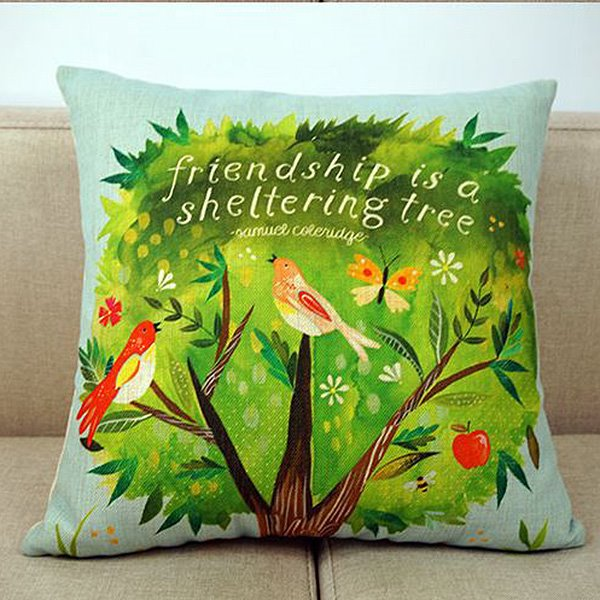 Birds on The Green Tree Print Pastoral Style Throw Pillow