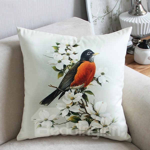 Pastoral Style Bird Standing on Magnolia Branch Print Throw Pillow