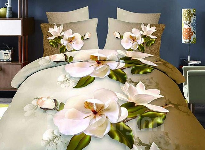 Elegant White Flowers Reactive Printing Polyester 4 Pieces Duvet Cover Sets