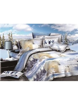 Lovely White Polar Bear Print 4-Piece Polyester Duvet Cover Sets