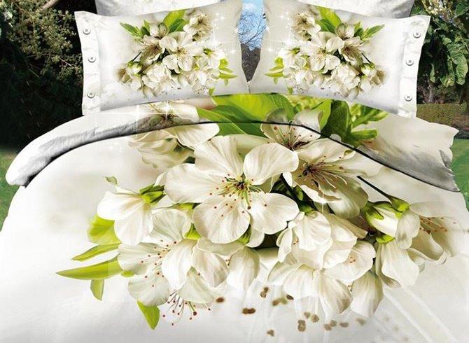 Graceful White Flowers Reactive Printing 100% Cotton 4-Piece Duvet Cover Sets