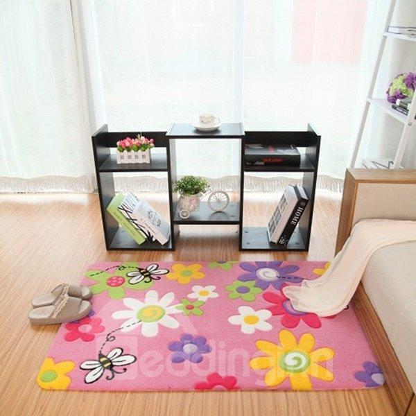 Wonderful Cartoon Flowers and Bees Pattern Bedroom Kidsroom Rug