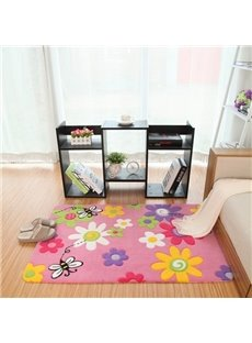 Wonderful Cartoon Flowers and Bees Pattern Bedroom Kidsroom Rug