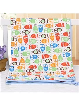 Cute Bouncy Owl Pattern 100% Cotton Baby Crib Sheet